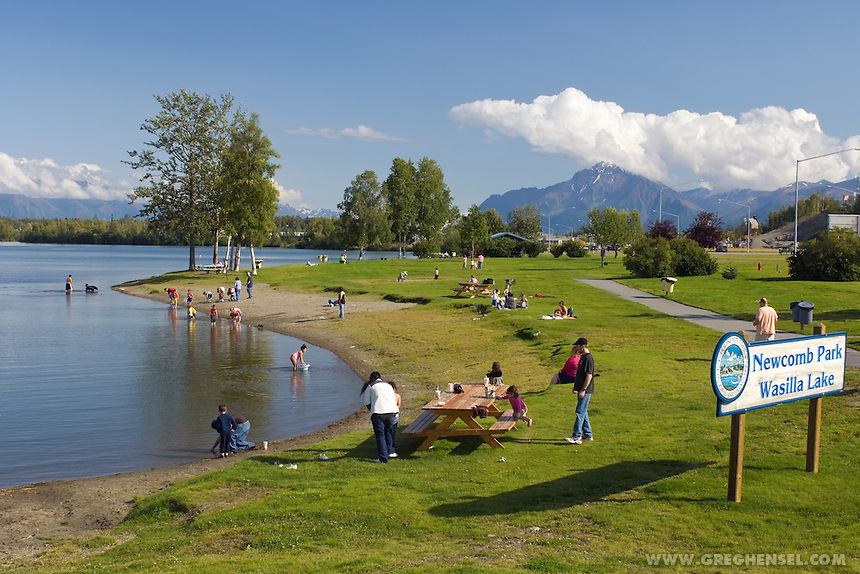 Residents enjoy a sunny August afternoon at Wasilla Lake Park in   Wasilla, Alaska. Wasilla is the hometown of Alaska Governor Sarah Palin, who was picked by Senator John McCain to be the 2008 Republican nominee for Vice President.