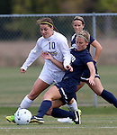 BROOKINGS, SD - OCTOBER 12: Nicole Hatcher #10 from South Dakota State tries to control the ball as Cheyenne Diggs #10 from Oral Roberts University tries to knock the ball away in the first half of their game Sunday afternoon at Fischback Soccer Field in Brookings. (Photo by Dave Eggen/Inertia)