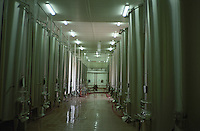 Stainless steel and concrete fermentation vats in the winery at Domaine Saint Martin de la Garrigue, Montagnac, Coteaux du Languedoc, Languedoc-Roussillon, France