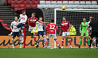 Preston North End's Tom Barkhuizen (left) headers the ball in from of the Bristol City <br /> <br /> Photographer David Horton/CameraSport<br /> <br /> The EFL Sky Bet Championship - Bristol City v Preston North End - Saturday 10th November 2018 - Ashton Gate Stadium - Bristol<br /> <br /> World Copyright &copy; 2018 CameraSport. All rights reserved. 43 Linden Ave. Countesthorpe. Leicester. England. LE8 5PG - Tel: +44 (0) 116 277 4147 - admin@camerasport.com - www.camerasport.com