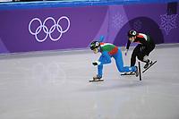 OLYMPIC GAMES: PYEONGCHANG: 10-02-2018, Gangneung Ice Arena, Short Track, Heats 500m Ladies, Arianna Fontana (ITA), Andrea Keszler (HUN), ©photo Martin de Jong