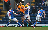 Oldham Athletic's Craig Davies and Blackburn Rovers' Paul Downing<br /> <br /> Photographer Stephen White/CameraSport<br /> <br /> The EFL Sky Bet League One - Blackburn Rovers v Oldham Athletic - Saturday 10th February 2018 - Ewood Park - Blackburn<br /> <br /> World Copyright &copy; 2018 CameraSport. All rights reserved. 43 Linden Ave. Countesthorpe. Leicester. England. LE8 5PG - Tel: +44 (0) 116 277 4147 - admin@camerasport.com - www.camerasport.com