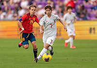 ORLANDO, FL - MARCH 05: Emi Nakajima #7 of Japan dribbles during a game between Spain and Japan at Exploria Stadium on March 05, 2020 in Orlando, Florida.