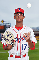 Spokane Indians pitcher Joshua Javier (17) poses for a photo before a Northwest League game against the Hillsboro Hops at Avista Stadium on August 23, 2019 in Spokane, Washington. Hillsboro defeated Spokane 8-2. (Zachary Lucy/Four Seam Images)