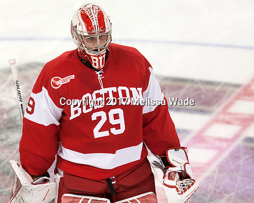Jake Oettinger (BU - 29) - The visiting Boston University Terriers defeated the Boston College Eagles 3-0 on Monday, January 16, 2017, at Kelley Rink in Conte Forum in Chestnut Hill, Massachusetts.