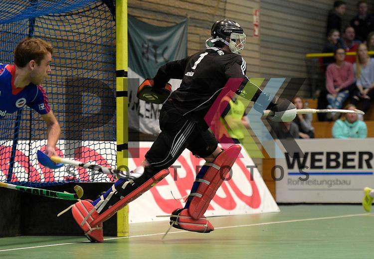 GER - Luebeck, Germany, February 06: During the 1. Bundesliga Herren indoor hockey semi final match at the Final 4 between Uhlenhorst Muelheim (white) and Mannheimer HC (blue) on February 6, 2016 at Hansehalle Luebeck in Luebeck, Germany.  Final score 2-3 (HT 7-5).  Andreas Spaeck #1 of Mannheimer HC<br /> <br /> Foto &copy; PIX-Sportfotos *** Foto ist honorarpflichtig! *** Auf Anfrage in hoeherer Qualitaet/Aufloesung. Belegexemplar erbeten. Veroeffentlichung ausschliesslich fuer journalistisch-publizistische Zwecke. For editorial use only.