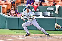 Notre Dame Fighting Irish right fielder Robert Youngdahl (25) fouls off a bunt during a game against the Clemson Tigers during game one of a double headers at Doug Kingsmore Stadium March 14, 2015 in Clemson, South Carolina. The Tigers defeated the Fighting Irish 6-1. (Tony Farlow/Four Seam Images)