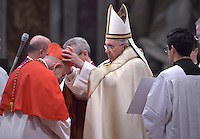 Cardinal  Karl-Josef Rauber .i .Pope Francis,during a consistory for the creation of new Cardinals at St. Peter's Basilica in Vatican.February 14, 2015