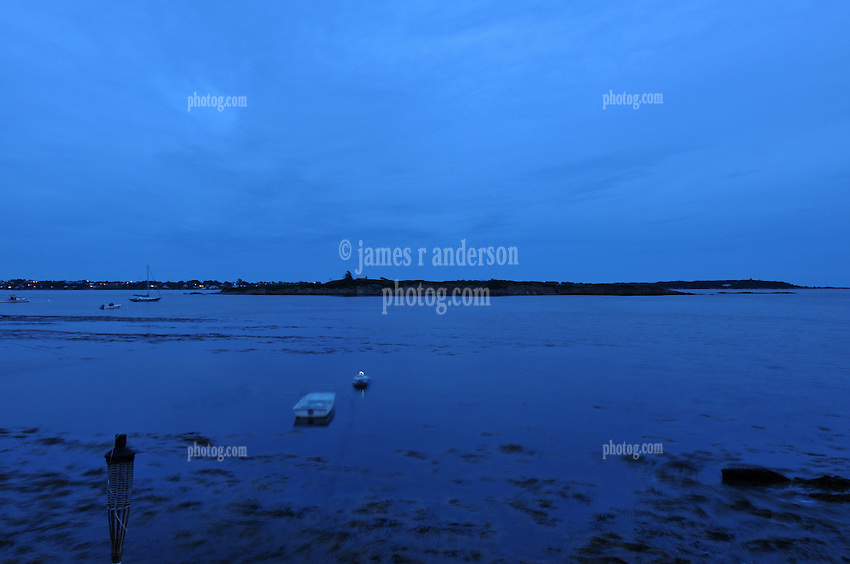 Twilight Blue Sky on Potts Point, South Harpswell, Maine. Dinghy and Mooring, Ram and Bailey's Islands in the background.