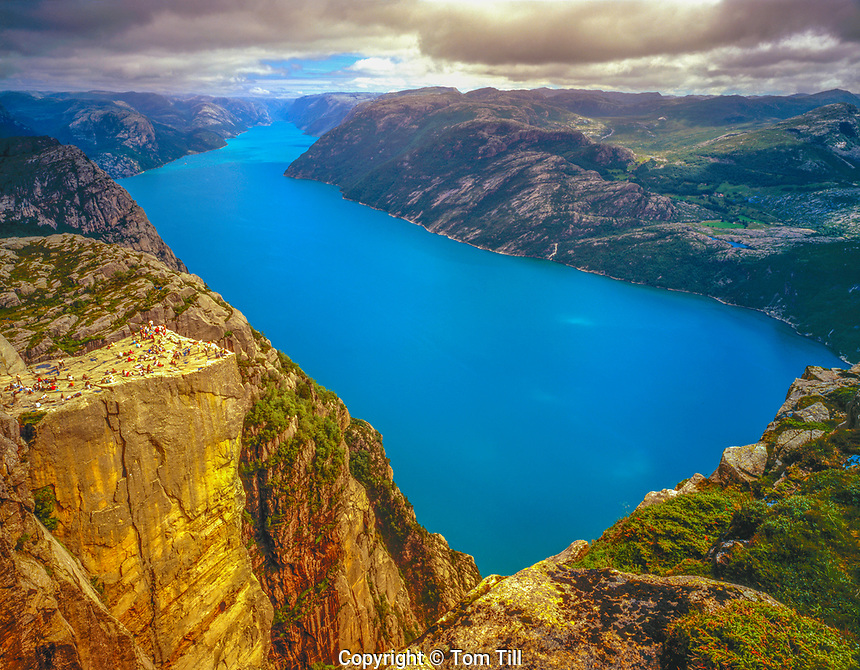 Pulpit Rock above Lysefjord, Western Fjords, Norway Pulpit Rock 2,000 feet above Fjord Atlantic Oean