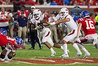 NWA Democrat-Gazette/BEN GOFF @NWABENGOFF<br /> Nick Starkel, Arkansas quarterback, hands off to running back Rakeem Boyd in the third quarter vs Ole Miss Saturday, Sept. 7, 2019, at Vaught-Hemingway Stadium in Oxford, Miss.