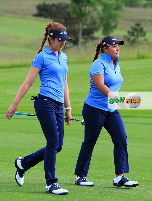 Hannah O'Sullivan and Mariel Galdiano on the 3rd during the Friday morning Foursomes of the 2016 Curtis Cup at Dun Laoghaire Golf Club on Friday 10th June 2016.<br /> Picture:  Golffile | Thos Caffrey