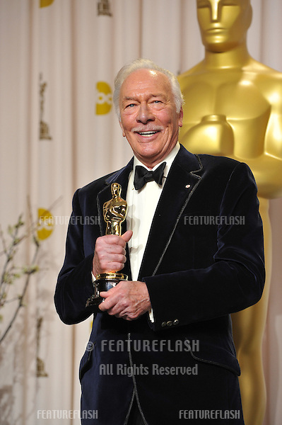 Christopher Plummer, winner of Best Supporting Actor for Beginners, at the 82nd Academy Awards at the Hollywood & Highland Theatre, Hollywood..February 26, 2012  Los Angeles, CA.Picture: Paul Smith / Featureflash.
