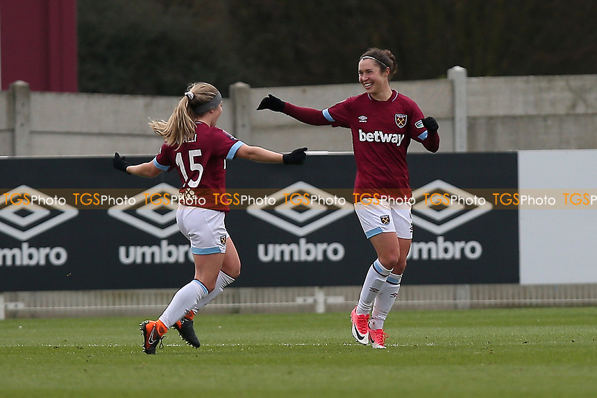 Jane Ross of West Ham scores the second goal for her team and celebrates during West Ham United Women vs Arsenal Women, FA Women's Super League Football at Rush Green Stadium on 6th January 2019