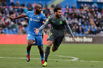 Getafe CF's Dimitri Foulquier and Real Sociedad's Willian Jose Da Silva during La Liga match between Getafe CF and Real Sociedad at Coliseum Alfonso Perez in Getafe, Spain. December 15, 2018. (ALTERPHOTOS/A. Perez Meca)