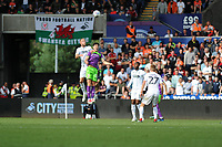 Mike van der Hoorn of Swansea City vies for possession with Callum O'Dowda of Bristol City during the Sky Bet Championship match between Swansea City and Bristol City at the Liberty Stadium, Swansea, Wales, UK. Saturday 25 August 2018