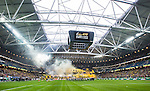 BETALBILD Solna 2015-03-07 Fotboll Allsvenskan AIK - Hammarby IF :  <br /> AIK:s supportrar med r&ouml;k och en banderoll med texten &quot; Fanb&auml;rarna &quot; under ett tifo inf&ouml;r matchen mellan AIK och Hammarby IF <br /> (Foto: Kenta J&ouml;nsson) Nyckelord:  AIK Gnaget Friends Arena Svenska Cupen Cup Derby Hammarby HIF Bajen supporter fans publik supporters tifo r&ouml;k bengaler bengaliska eldar banderoll banderoller budskap inomhus interi&ouml;r interior