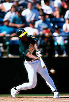 Ricky Henderson of the Oakland Athletics participates in a Major League Baseball Spring Training game during the 1998 season in Phoenix, Arizona. (Larry Goren/Four Seam Images)