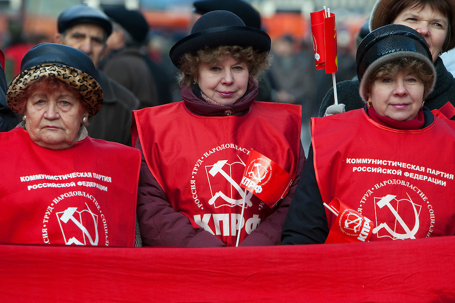 Moscow, Russia, 07/11/2010..Members and supporters of the Russian Communist Party demonstrate to celebrate the 83rd anniversary of the October 1917 Bolshevik revolution. Russia no longer officially celebrates the anniversary of the 1917 Revolution that brought Vladimir Lenin to power and established communist rule in Russia and the Soviet Union over seven decades.