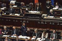 Roma, 16 Settembre 2014<br /> Camera dei Deputati.<br /> Matteo Renzi presenta il programma di governo dei prossimi mille giorni.<br /> Renzi parladai banchi del Governo.<br /> Rome, 16 September 2014 <br /> Chamber of Deputies. <br /> Matteo Renzi presents the program of the next thousand days.