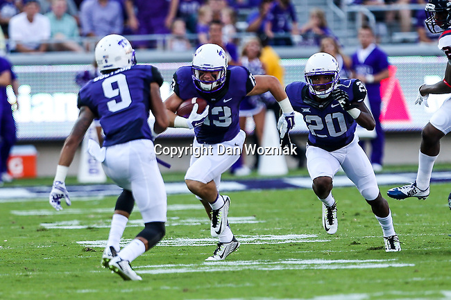 TCU Horned Frogs wide receiver Ty Slanina (13) in action during the game between the Samford Bulldogs and the TCU Horned Frogs at the Amon G. Carter Stadium in Fort Worth, Texas.  TCU leads Stamford 24 to 7 at halftime.