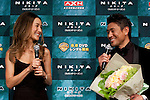 "June 28, 2012 : Tokyo, Japan - Maggie Q and Japanese former K1 fighter Masato appear at the Japan Premiere for ""Nikita? at TOHO Cinemas in the Roppongi Hills complex in downtown Tokyo. Nikita is an American television drama about a character named Nikita, who escaped from a secret-government founded organization. Maggie Q, who plays the character of Nikita, first started her career modeling in Tokyo and moved to several countries such as Taipei, Hong Kong and back to United States. (Photo by Yumeto Yamazaki/AFLO)"
