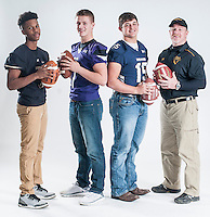 NWA Democrat-Gazette/ANTHONY REYES • @NWATONYR<br /> The football All-NWADG athletes of the year, from left, Bentonville's Kam'Ron Mays-Hunt, Newcomer of the Year, Fayetteville's Taylor Powell, Offensive Player of the Year, Greenwood's Grant Morgan, Defensive Player of the Year and Prairie Grove's Danny Abshier, Coach of the Year.