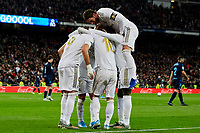 Players of Real Madrid celebrate goal during La Liga match between Real Madrid and Real Sociedad at Santiago Bernabeu Stadium in Madrid, Spain. November 23, 2019. (ALTERPHOTOS/A. Perez Meca)<br /> Liga Spagna 2019/2020 <br /> Real Madrid - Real Sociedad <br /> Foto Alterphotos / Insidefoto <br /> ITALY ONLY