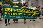 Philadelphia, Pennsylvania<br /> July 25, 2016 <br /> <br /> Demonstrations at City Hall during the Democratic National Convention's (DNC) opening day. The rally was in support of Bernie Sanders and third party candidate, Jill Stein of the Green Party.