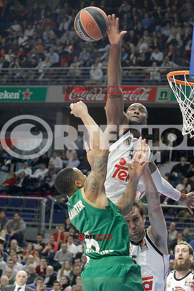 Real Madrid's Andres Nocioni (r) and Marcus Slaughter (t) and Panathinaikos Athens' A.J. Slaughter during Euroleague match.January 22,2015. (ALTERPHOTOS/Acero) /NortePhoto<br /> NortePhoto.com