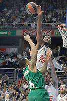 Real Madrid's Andres Nocioni (r) and Marcus Slaughter (t) and Panathinaikos Athens' A.J. Slaughter during Euroleague match.January 22,2015. (ALTERPHOTOS/Acero) /NortePhoto<br />