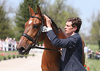 LEXINGTON, KY - April 26, 2017. #24 Qalao Des Mers and Maxime Livio from France at the Rolex Three Day Event First Horse Inspection at the Kentucky Horse Park.  Lexington, Kentucky. (Photo by Candice Chavez/Eclipse Sportswire/Getty Images)
