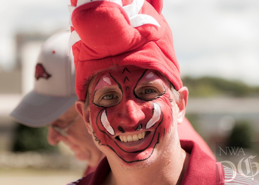 NWA Democrat-Gazette/CHARLIE KAIJO Gregory Love of Benton poses for a picture before a football game against North Texas Mean Green, Saturyday, September 15, 2018 at Donald W. Reynolds Razorback Stadium in Fayetteville.