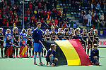The Hague, Netherlands, June 05: Players of Belgium line up prior to the match during the national anthem during the field hockey group match (Women - Group A) between Belgium and Australia on June 5, 2014 during the World Cup 2014 at Kyocera Stadium in The Hague, Netherlands. Final score 2:3 (1:1) (Photo by Dirk Markgraf / www.265-images.com) *** Local caption ***