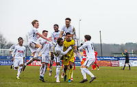 Spurs U19 celebrate after progressing to the QF in the Cup after winning the Penalty shootout through a Goalkeeper Brandon Austin of Spurs save during the UEFA Youth League round of 16 match between Tottenham Hotspur U19 and Monaco at Tottenham Hotspur Training Ground, Hotspur Way, England on 21 February 2018. Photo by Andy Rowland.