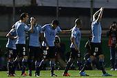 Diego Rolan (9) celebra con compa&ntilde;eros despu&eacute;s de hacer un gol durante el partido por Elimnatorias Mundial 2018 entre Colombia y Uruguay en el Estadio Centenario de Montevideo el 13 de octubre de 2015.<br /> <br /> Foto: Daniel Jayo/Archivolatino<br /> <br /> COPYRIGHT: Archivolatino<br /> Prohibido su uso sin autorizaci&oacute;n.