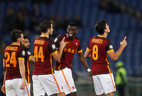 Calcio, Serie A: Roma vs Sampdoria. Roma, stadio Olimpico, 7 febbraio 2016.<br /> Roma&rsquo;s Diego Perotti, right, celebrates with teammates after scoring during the Italian Serie A football match between Roma and Sampdoria at Rome's Olympic stadium, 7 January 2016.<br /> UPDATE IMAGES PRESS/Riccardo De Luca