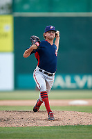 Potomac Nationals relief pitcher Taylor Guilbeau (21) delivers a pitch during the first game of a doubleheader against the Lynchburg Hillcats on June 9, 2018 at Calvin Falwell Field in Lynchburg, Virginia.  Lynchburg defeated Potomac 5-3.  (Mike Janes/Four Seam Images)