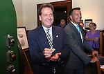 Lt. Gov. Brian Krolicki and Gov. Brian Sandoval show off a medallion at a ceremony marking the beginning of production of the fourth and final medallion in a commemorative Sesquicentennial series at the Nevada State Museum, in Carson City, Nev., on Wednesday, Sept. 3, 2014. <br /> Photo by Cathleen Allison