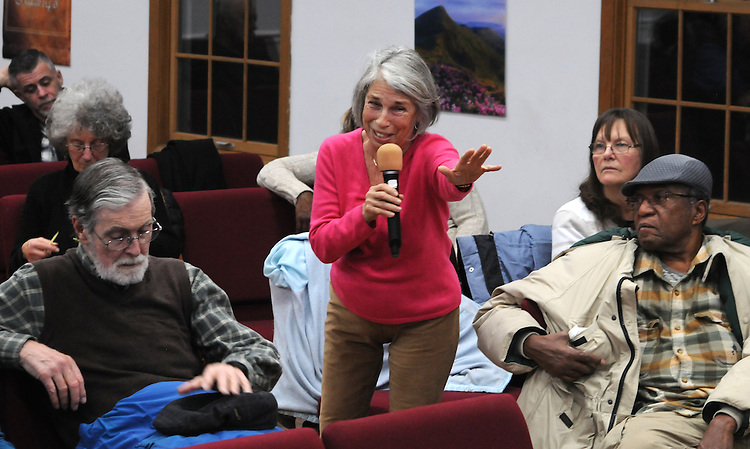 Terri Leroy, of ENJAN, questioning, Kingston Mayor, Steve Noble and Police Chief Egidio F. Tinti, at a Community Policing Forum, sponsored by the Kingston Branch of ENJAN and the Ministers Alliance of Ulster Co., held at New Progressive Baptist Church, on Hone Street in Kingston, NY, on Tuesday, December 13, 2016. Photo by Jim Peppler; Copyright Jim Peppler 2016.