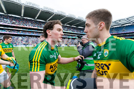 Tadhg Morley and Adrian Spillane Kerry players celebrate after defeating Dublin at the National League Final in Croke Park on Sunday.