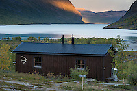 STF Kaitumjaure mountain hut with lake Kaitumjaure in background, Kungsleden Trail, Lapland, Sweden
