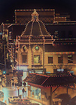 Christmas lights shine at the Country Club Plaza in Kansas City, Missouri at Chirstmas Time.