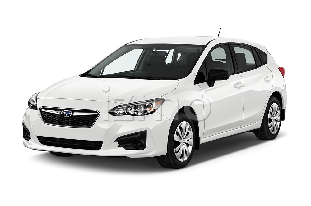 2017 Subaru Impreza CVT 5 Door Hatchback Angular Front stock photos of front three quarter view