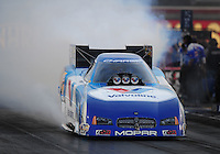 Oct. 31, 2008; Las Vegas, NV, USA: NHRA funny car driver Jack Beckman does a burnout during qualifying for the Las Vegas Nationals at The Strip in Las Vegas. Mandatory Credit: Mark J. Rebilas-