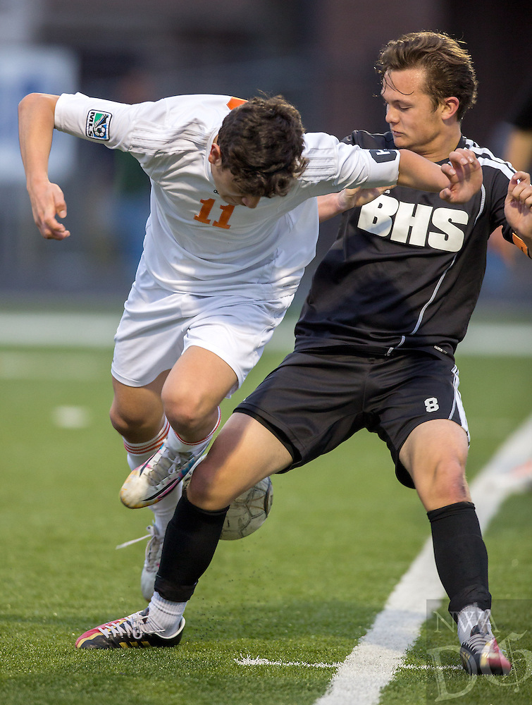 NWA Democrat-Gazette/JASON IVESTER --03/20/2015--<br /> Bentonville senior Josh Howard (right) stops Rogers Heritage junior Christian Banuelos (cq) during the first half on Friday, March 20, 2015, at David Gates Stadium in Rogers.