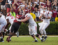 Hawgs Illustrated/BEN GOFF <br /> Frank Ragnow, Arkansas center, blocks South Carolina linebacker T.J. Brunson to protect Austin Allen, Arkansas quarterback, in the third quarter Saturday, Oct. 7, 2017, during the game at Williams-Brice Stadium in Columbia, S.C.