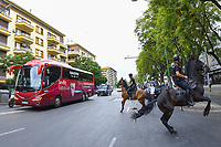 11th June 2020, Sevilla, Spain;  La Liga Spanish football league. Sevilla FC versus Real Betis. Resumption of football matches in Spain after three months postponed by the global pandemic of COVID-19. Game was played without any fans in the stadium and with  strict sanitary measures. The teams bus arrives