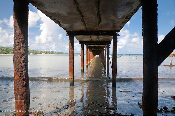 Under the jetty at Plymouth, Courland Bay, Tobago