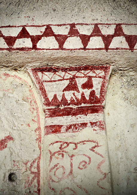 Pictures & images of Aynali Kilise (Church) cave church interior frescoes, iconoclastic period (725-842), near Goreme, Cappadocia, Nevsehir, Turkey<br /> <br /> During the iconoclastic period (725-842) it was forbidden to depict any religious figures in the Orthodox Church so interiors were decorated with simple red and white geometric patterns and crosses.